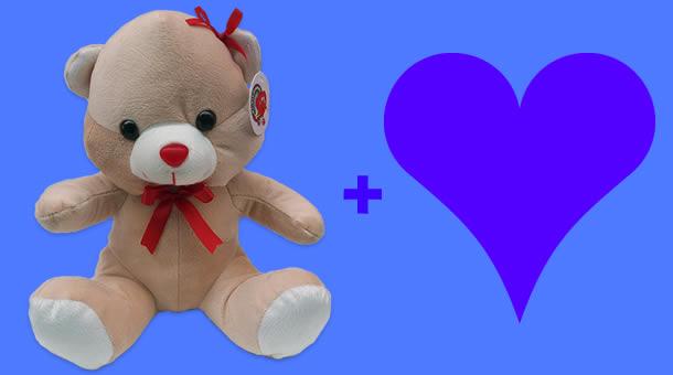 Quero dar um Urso de Pelúcia com laço para o meu amor